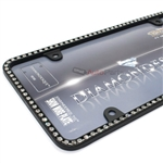 Clear Diamond Bling Crystals Black License Plate Tag Frame for Auto-Car-Truck