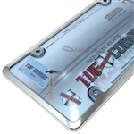 Chrome Plastic License Plate Tag Frame + Blue Tinted Shield Cover for Car-Truck