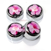 4 Chrome Hibiscus Flower License Plate Fastener Screw Bolt Caps for Car-Bike