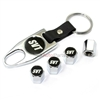 Ford SVT Logo Contour Mustang Chrome Tire/Wheel Stem Valve CAPS+Wrench Key Chain