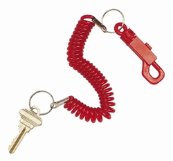 Coil Spiral Stretchable Band Key Chain Ring Plastic Belt Pocket Purse Clip
