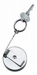 "Retractable Metal Chrome 2"" Key ChainRing with Pull Reel 24"" cord + Belt Clip"
