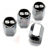 Chevrolet SS Black Logo Chrome ABS Tire Valve Stem Caps