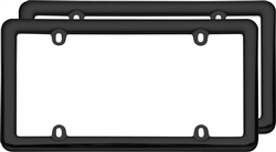 (2) Simple Nouveau Black Plastic License Plate Tag Frames for USA Car-Truck-SUV