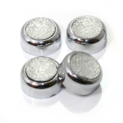 4 Premium Chrome Clear Pave License Plate Fastener Screw Bolt Caps for Car-Bike