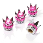 4 Chrome Crown Pink Bling Diamond Tire/Wheel Stem Valve Caps car truck hot rod