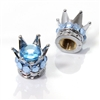 2 Motorcycle Chrome Silver Crown Light Blue Bling Diamond Tire/Wheel Valve Caps