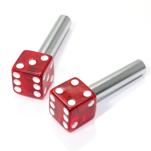2 clear red dice interior door lock knobs pins for car truck hotrod classic. Black Bedroom Furniture Sets. Home Design Ideas