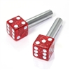 2 Red Glitter Dice Interior Door Lock Knobs Pins for Car-Truck-HotRod-Classic