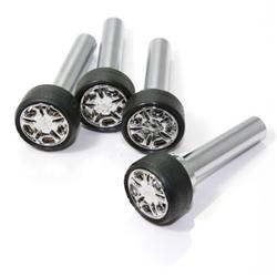 4 universal chrome wheel rim interior door lock knobs pins for car truck hotrod. Black Bedroom Furniture Sets. Home Design Ideas