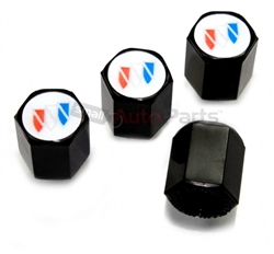 Buick White Logo Black ABS Tire Valve Stem Caps
