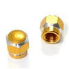 2 Gold Hex Aluminum Wheel Tire Pressure Air Stem Valve Caps for Motorcycle-Bike