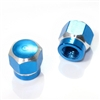 2 Blue Hex Aluminum Wheel Tire Pressure Air Stem Valve Caps for Motorcycle-Bike