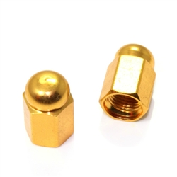 2 Gold Hex Dome Wheel Tire Pressure Air Stem Valve Caps for Motorcycle-Bike