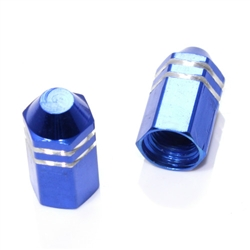2 Blue Finned Hex Wheel Tire Pressure Air Stem Valve Caps for Motorcycle-Bike