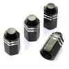 4 Black Finned Hex Wheel Tire Pressure Air Stem Valve Caps for Auto-Car-Truck
