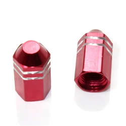 2 Red Finned Hex Wheel Tire Pressure Air Stem Valve Caps for Motorcycle-Bike