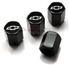 Chevrolet Silver Logo Black ABS Tire Valve Stem Caps