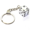 Chrome Silver Dice Keychain