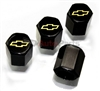 Chevrolet Yellow Logo Black ABS Tire Valve Stem Caps