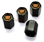 Cadillac New Style Gold Logo Black ABS Tire Valve Stem Caps