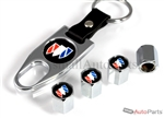 Buick Black Logo Chrome ABS Tire Valve Stem Caps & Key Chain