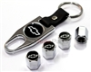 Chevrolet Silver Logo Chrome ABS Tire Valve Stem Caps & Key Chain