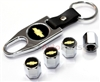 Chevrolet Gold Logo Chrome ABS Tire Valve Stem Caps & Key Chain