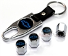 Chevrolet Blue Logo Chrome ABS Tire Valve Stem Caps & Key Chain