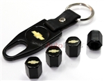 Chevrolet Gold Logo Black ABS Tire Valve Stem Caps & Key Chain