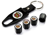 Cadillac Old Logo Black ABS Tire Valve Stem Caps & Key Chain
