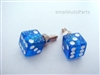 Clear Blue Glitter Dice License Plate Frame Fasteners Bolts