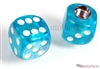 Clear Blue Dice Tire Valve Stem Caps