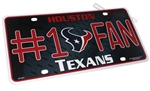 Houston Texans #1 Fan NFL Aluminum License Plate Tag