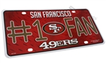 San Francisco 49ers #1 Fan NFL Aluminum License Plate Tag