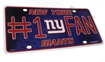 New York Giants #1 Fan NFL Aluminum License Plate Tag