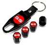 Chevrolet SS Red Logo Black ABS Tire Valve Stem Caps & Key Chain
