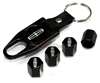Lincoln Silver Logo Black ABS Tire Valve Stem Caps & Key Chain
