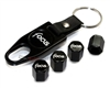 Ford Focus Logo Black ABS Tire Valve Stem Caps & Key Chain