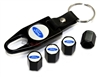 Ford Blue Logo Black ABS Tire Valve Stem Caps & Key Chain