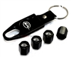 Chevrolet Impala Silver Logo Black ABS Tire Valve Stem Caps & Key Chain