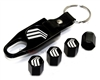 Mercury Silver Logo Black ABS Tire Valve Stem Caps & Key Chain