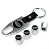 Pontiac GTO Black Logo Chrome ABS Tire Valve Stem Caps & Key Chain