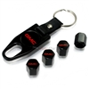 GMC Red Logo Black ABS Tire Valve Stem Caps & Key Chain