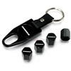 Hummer Silver Logo Black ABS Tire Valve Stem Caps & Key Chain