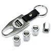 Jeep Silver Grill Logo Chrome ABS Tire Valve Stem Caps & Key Chain