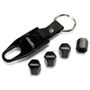Ford Thunderbird Old Style Logo Black ABS Tire Valve Stem Caps & Key Chain