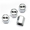 Chevrolet SS Silver Logo Chrome ABS Tire Valve Stem Caps