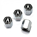Acura Black Logo Chrome ABS Tire Valve Stem Caps
