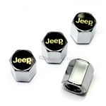 Jeep Gold Logo Chrome ABS Tire Valve Stem Caps